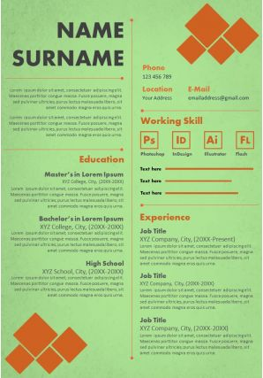 Professional Infographic Resume Template And CV Design For Self Introduction