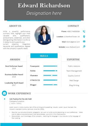 Professional Resume CV Template With Rewards Skills And Expertise