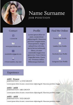Professional Resume Design Curriculum Vitae Powerpoint Template