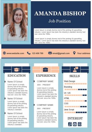 Professional Resume Design Visual CV Template