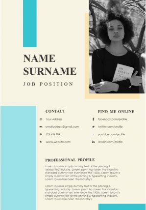 Professional Resume Editable A4 Template For Job Search