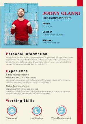 Professional Resume Template For Sales Representative Sales CV