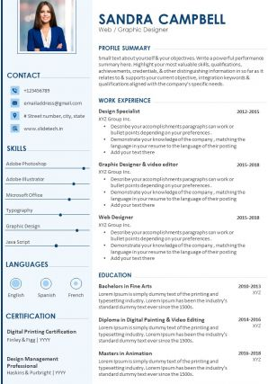 Sample Resume Template For Web Graphic Designer