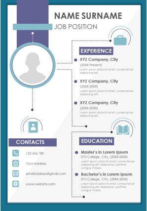 Professional Resume Visual Design CV A4 Format