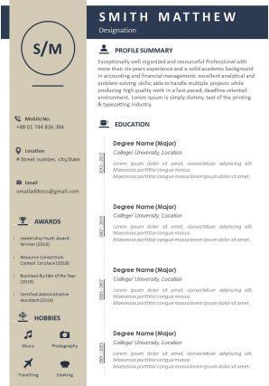 Professional Summary Resume Sample Template