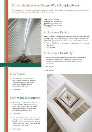 Project Architecture Design Work Samples Report Presentation Report Infographic PPT PDF Document