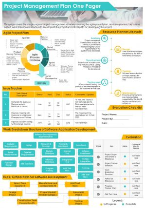 Project Management Plan One Pager Presentation Report Infographic PPT PDF Document
