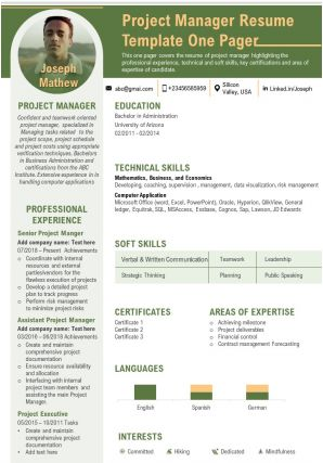Project Manager Resume Template One Pager Presentation Report Infographic PPT PDF Document