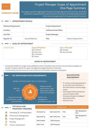 Project Manager Scope Of Appointment One Page Summary Presentation Report Infographic PPT PDF Document