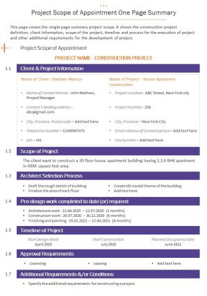 Project Scope Of Appointment One Page Summary Presentation Report Infographic PPT PDF Document