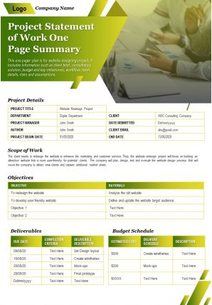 Project Statement Of Work One Page Summary Presentation Report Infographic PPT PDF Document