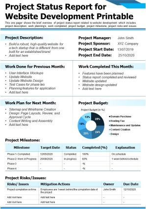 Project Status Report For Website Development Printable Presentation Report Infographic PPT PDF Document