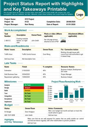 Project Status Report With Highlights And Key Takeaways Printable Presentation Report Infographic PPT PDF Document