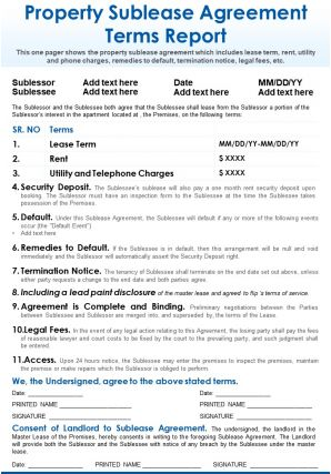 Property Sublease Agreement Terms Report Presentation Report Infographic PPT PDF Document