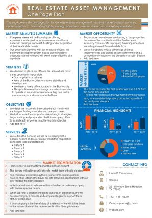 Real Estate Asset Management One Page Plan Presentation Report Infographic PPT PDF Document