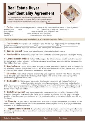 Real Estate Buyer Confidentiality Agreement Presentation Report Infographic PPT PDF Document