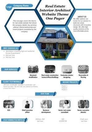 Real Estate Interior Architect Website Theme One Pager Presentation Report Infographic PPT PDF Document
