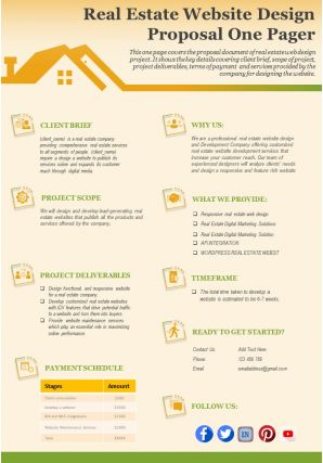 Real Estate Website Design Proposal One Pager Presentation Report Infographic PPT PDF Document