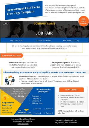 Recruitment Fair Event One Page Template Presentation Report Infographic PPT PDF Document