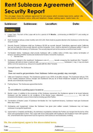 Rent Sublease Agreement Security Report Presentation Report Infographic PPT PDF Document