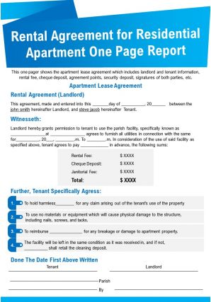 Rental Agreement For Residential Apartment One Page Report Presentation Report Infographic PPT PDF Document