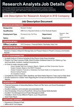 Research Analysts Job Details Presentation Report Infographic PPT PDF Document