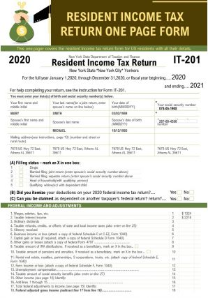 Resident Income Tax Return One Page Form Presentation Report Infographic PPT PDF Document