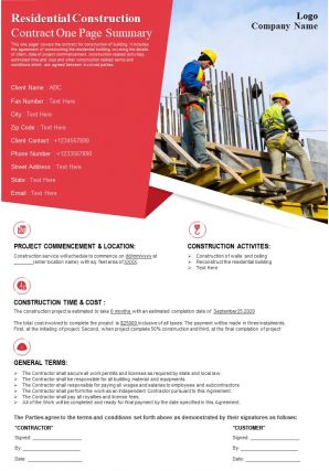 Residential Construction Contract One Page Summary Presentation Report Infographic PPT PDF Document