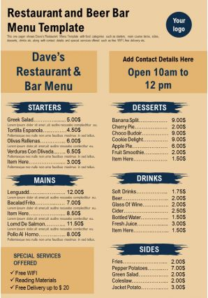 Restaurant And Beer Bar Menu Template Presentation Report Infographic PPT PDF Document