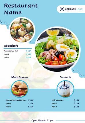 Restaurant Food Menu Two Page Brochure Template