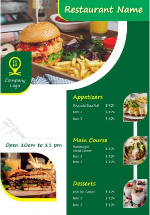 Restaurant Menu Brochure Two Page Flyer Template