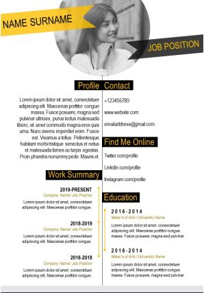 Resume Design For Job Application Powerpoint CV Template
