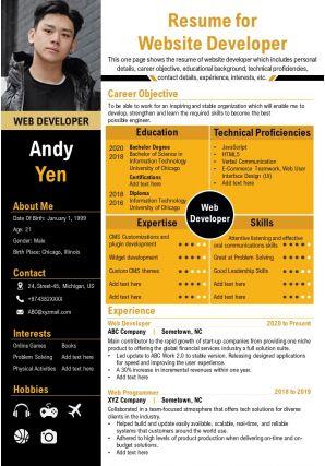 Resume For Website Developer Presentation Report Infographic PPT PDF Document