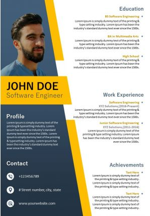 Resume Sample For Software Engineer Editable Template