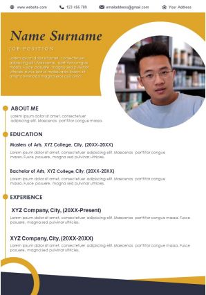 Resume Sample Template With Job Position And Work Experience