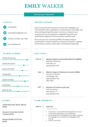 Resume Summary Example For Marketing Professional