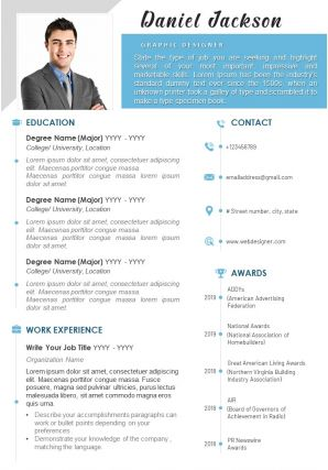 Resume Template With Brief Summary Of Work Experience And Education