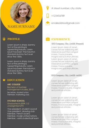 Resume Template With Profile Education And Skills