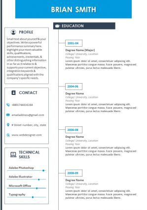 Resume Template With Profile Summary And Contact Details