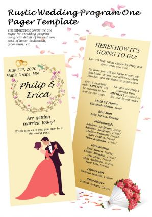 Rustic Wedding Program One Pager Template Presentation Report Infographic PPT PDF Document