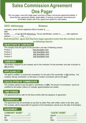 Sales Commission Agreement One Pager Presentation Report Infographic PPT PDF Document