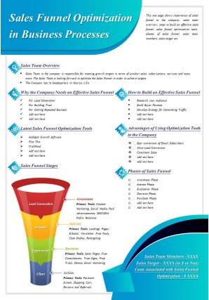 Sales Funnel Optimization In Business Processes Presentation Report Infographic PPT PDF Document