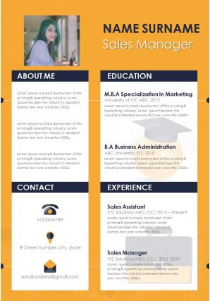 Sales Manager CV Template With Skills And Achievements