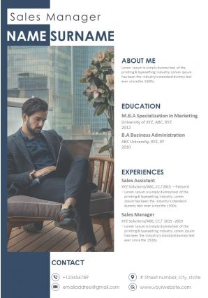 Sales Manager Resume Template Professional CV For Sales Professionals