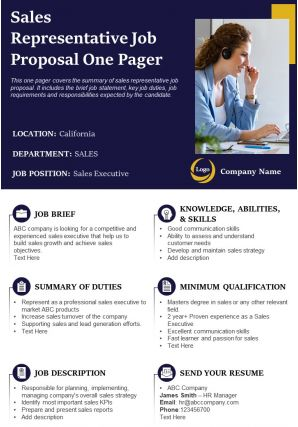 Sales Representative Job Proposal One Pager Presentation Report Infographic PPT PDF Document