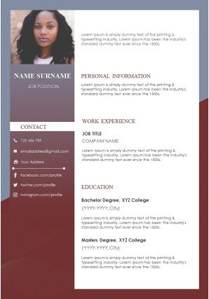 Sample Curriculum Vitae Format With Job Details