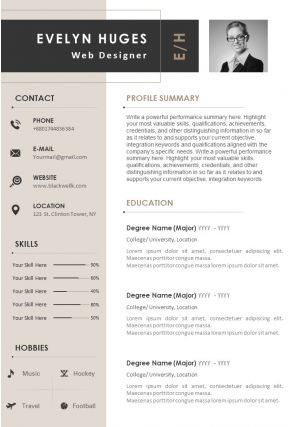 Sample Curriculum Vitae Template With Profile Summary And Contact Details