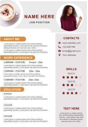 Sample CV Editable A4 Resume Template Innovative Format