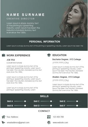 Sample CV Format Of Creative Director
