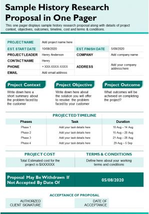 Sample History Research Proposal In One Pager Presentation Report Infographic PPT PDF Document